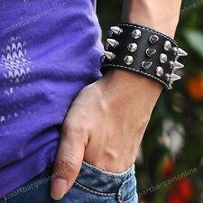 Men Black Cow Leather Rivet Spike Stud Cuff Wristband Bangle Bracelet Punk Rock