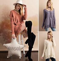 Womens EASEL Long Sleeve Tunic Knit Sweater Boho Oversized V-Neck Pullover