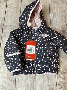 North Face 3-6 Or 12-18 Months Reversible Perrito Jacket Gray Pink Shimmer NEW