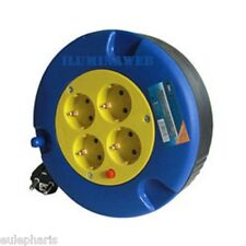 Alargador 4 Tomas de Enchufe 5 Metros 3x1,5mm, Enrrollacable+Proteccion Termica