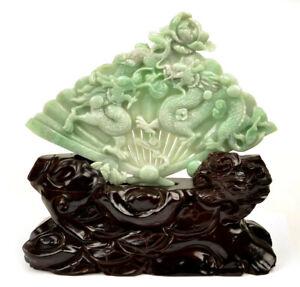A Grade Jadeite Jade Playing Dragons Fan Statue Sculpture Art w/ certificate