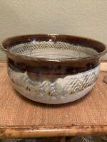 Texas Studio Pottery John Wisnewski Brown/Blue/Cream Serving Bowl