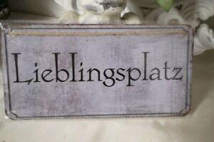 Lieblingsplatz Blechschild Wandbild Schild Metallschild Shabby Chic Vintage