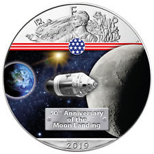 50 Jahre Mondlandung On the Way to the Moon Silber Eagle 2019 1 oz 999 Farbe