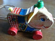 VINTAGE FISHER PRICE WOODEN PETER PIG PULL TOY