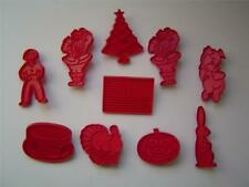10 Holiday Red Tupperware Cookie Cutters Halloween~Thanksgiving~Christmas~Flag