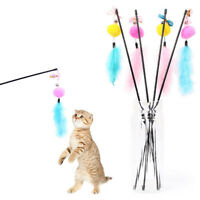 Kitten Cat Teaser Catcher Feather Pompon Ball Stick Wand Play Interactive Toy