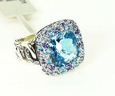 JOHN HARDY $995 Sterling Classic Chain Swiss Topaz Aquamarine Iolite Ring Sz 7