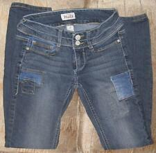 MUDD BLUE DENIM LOW-RISE SKINNY JEANS~DECORATIVE PATCHES FRONT & BACK~SIZE 0