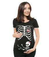 Maternity T-shirt Skeleton Cute Halloween Pregnancy Girl T-shirt Funny Costume