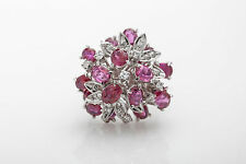 Vintage $9000 10ct Natural BURMA Ruby VS H Diamond 14k White Gold Cocktail Ring