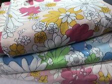 Vtg Cannon Monticello Mod Floral Twin Size Flat sheets lot of 3 flower power