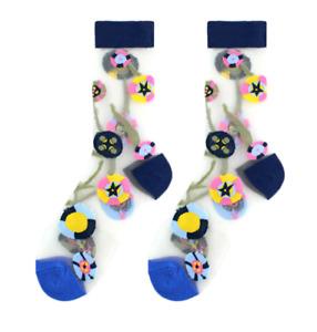 Romantic  flower fruit transparent cute  crew socks for women girl for gift