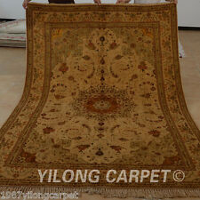 Yilong 6'x9' Handmade Wool Silk Area Rugs Old Weave Handiwork Golden Carpet 1444