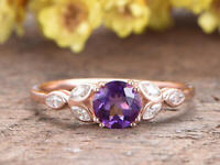 2.20Ct Round Cut Amethyst Solitaire Engagement Wedding Ring 14K Rose Gold Finish