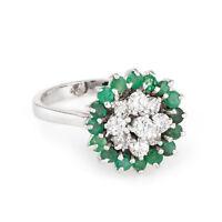 Emerald Diamond Cluster Ring Vintage 14k White Gold Estate Fine Jewelry