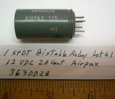 1 Sealed Latch Relay 12 VDC SPDT 2 Amp Contacts AIRPAX # 3630028,  Lot 61, USA