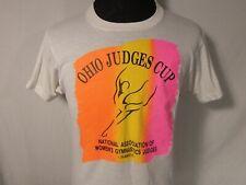 Ohio Judges Cup Adult Medium White T Shirt Womens Gymnastics Vintage 1980s