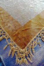 Striking antique gold Victorian plush velvet chenille tablecloth or cover.