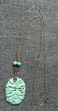 """Carved Turquoise Necklace 14k Yellow Gold 17.5"""""""
