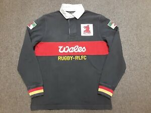 VTG Rugby by Ralph Lauren WALES RLFC Embroidered Dragon Patch Polo Shirt Medium