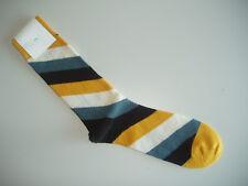 🇬🇧 Quality 80% MERINO WOOL Mens Spiral Stripe Socks Yellow/Black/Denim 7-11 UK