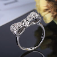 Women 925 Silver White Sapphire Bow Ring Wedding Engagement Jewelry Gift SZ 5-10