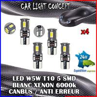 4 x ampoule veilleuse Feu  LED W5W T10 BLANC XENON 6000k voiture auto moto 5 smd