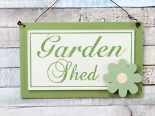 Green Potting Shed Wooden Hanging Plaque With Large Flower Detail Garden Sign