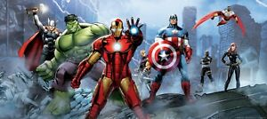 202x90cm Wall mural wallpaper Avengers children's bedroom Marvel panoramic decor