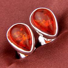 Charming 2-Gems Stud Earrings Baltic Cognac Amber Gemstone Silver Earrings