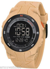 Military Men LED Digital Compass Alarm Sport Silicone Beige Army Wrist Watch