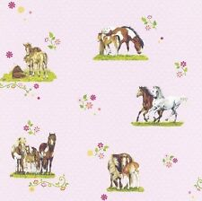 Rosa Caballos Wallpaper Lunares Blancos por RASCH 290516