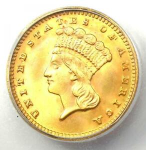 1889 Indian Gold Dollar (G$1 Coin) - ICG MS60 Detail (UNC MS) - Nice Luster!