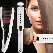 Redresseurs cheveux vapeur,Ionique 2-en-1 Redresseur de fer plat et LED Curler