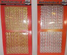 Wachsset Wachszahlen (68 Stk.)und Wachsbuchstaben (90 Stk.) in Gold oder Silber