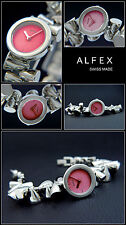 Alfex Ladies Designer Watch Swiss Made Complete Stainless Steel Face Wine Red,