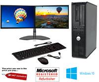 FAST DELL QUAD CORE PC COMPUTER DESKTOP TOWER WINDOWS 10 WIFI DUAL SCREEN PC