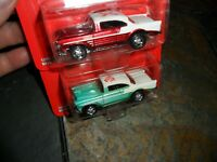 2 LOT Johnny Lightning Promo Edition 1956 Chevy Bel-Air Red & Green 1/64 1/5000