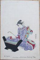 Geisha Girl 1910 Postcard w/Tea Advertising, Toyokuni/Artist-Signed - Japan