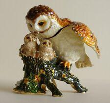 Barn Owl Family Trinket box, Enamalled and Gold plated , Figurine, Jewellery