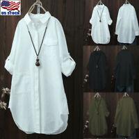 Women V-Neck Button Shirt Long Sleeve Ladies Loose Tunic Tops T Shirt Blouse Hem