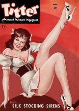 Vintage Titter magazine cover pinup pin-up girl March 1949 sexy girl lingerie