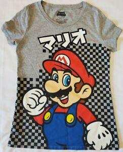 Youth Girl Super Mario Japanese Writing T-Shirt Gray Size XL (15/17) Nintendo