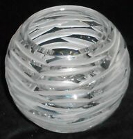 24% Lead Crystal BOMBAY (Signed) - POLAND Frosted to Clear Cut ROSE BOWL