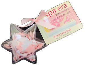 New Spa Era Rose Scented Pink White Star Bath Confetti Essential Oils Hydrates