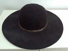 Ladies Black Fedora Hat 100% Wool New with Tags