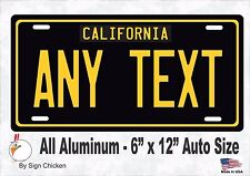 California Black, Personalized Custom License Plate with border AUTO SIZE 6 x 12