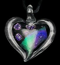 Dichroic Heart Pendant w/ Cord / Gifts for Her / Friend Gift / Valentines #22