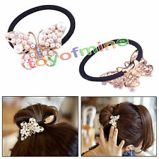 Fashion Korean version of the sweet pearl bow crystal hair ring hair rope New